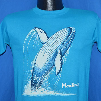 80s Monterey Whale Jumping Watching Deadstock t-shirt Youth Large