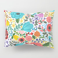 Colorful Vintage Spring Flowers Pillow Sham by Smyrna