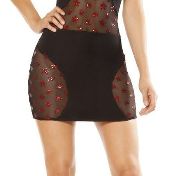 Roma RM-3363 Swerve Mini Dress with Star Shaped Glitter Sheer Mesh Panels