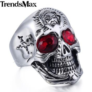 Men's Ring 316L Stainless Steel Skull Ring Red Rhinestones Eye Jewelry