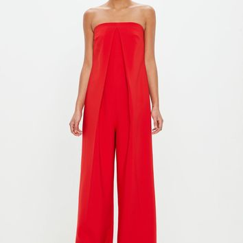 Missguided - Peace + Love Red Bandeau Front Pleat Jumpsuit