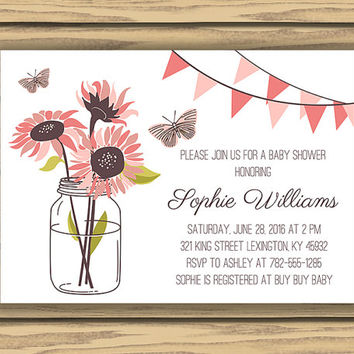 Pink Sunflowers  Baby or Bridal Shower Invitation, 7x5 Inch, Printable, Mason Jar,Pink and Purple, Pink Pennant Flags, Baby Girl