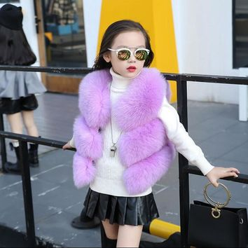 CHCDMP Soft Fox Fur Vest for Baby girls Kid Faux Fur Vest Children Fur Jacket Fashion Fur Coat V-neck Newborns Outerwear & Coats