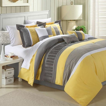 King Size 8 Piece OverSized Comforter Set in Yellow Grey White Stripes