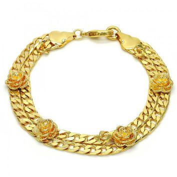 Gold Layered 03.93.0004.09 Fancy Bracelet, Flower and Curb Design, Diamond Cutting Finish, Golden Tone