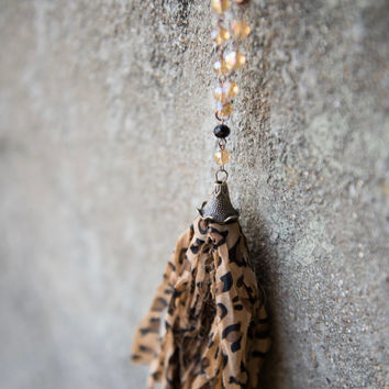 Leopard Fabric Tassel Necklace