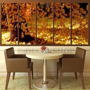 Canvas Print Autumn Tree 5 Panel - Framed - Streched Autumn Landscape Leaves Canvas Printing