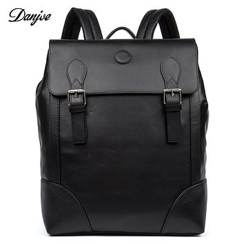 Men Backpack Genuine Leather School Bag Students Trendy Cover Travel Bags Male Leisure Laptop Backpack Man