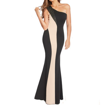 Fashion Party Dresses 2016 Clothes Women Elegant Pinup One Shoulder Bodycon Drill Colour Block Striped Long Maxi Dresses Vestido
