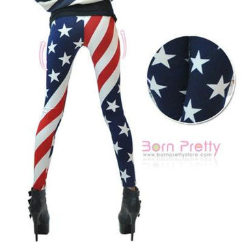 Fashion Comfortable Silk Leggings Long Pants American Flag Pattern