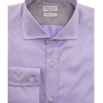 Brunello Cucinelli Purple Pin Dot Dress Shirt