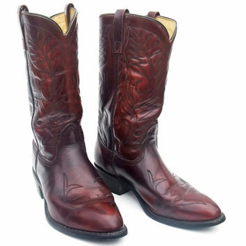Vintage Cowboy Boots Men's Size 11 Burgundy Leather Pull On Undershot Cuban Heel 1980s Western Mason Boots