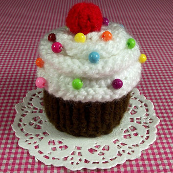 KNITTING PATTERN Cupcake Ornament Toy Amigurumi Food - Meringue Cherry Sprinkles - Pincushion Pattern Instant Download PDF