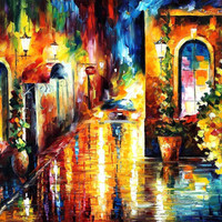 "Paying A Visit — PALETTE KNIFE Cityscape Modern Wall Art Textured Oil Painting On Canvas By Leonid Afremov - Size: 36"" x 30"" (90 cm x 75 cm)"