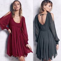 Retro Vintage Chiffon Backless Round Necked Sexy Erotic See Through One Piece Dress  Dress