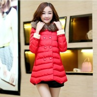 Women : Elegant Down Coat Wool Cuffs Fur Collar YRB0415