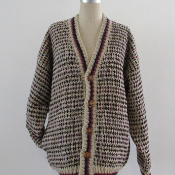 Oversized Grandpa Cardigan // Cable Knit // Vintage // Med/Lrg