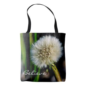 Make a Wish Personalized, Believe, Dandelion Tote Bag