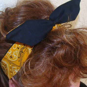 Dolly Bow, Mustard Yellow Bandana Reversible, Rockabilly Flexible Wire Headband Pinup 40s hair Teens Woman Girl