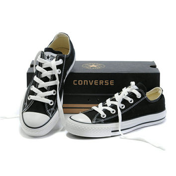"Black ""Converse"" Fashion Canvas Flats Sneakers Sport Shoes Low Top"