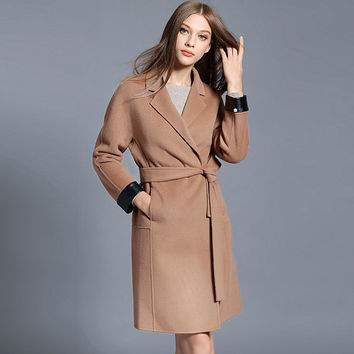 Women Camel Wool Coat High Quality Fashion Women's Cashmere Coat With Belt Ladies Coat,86534