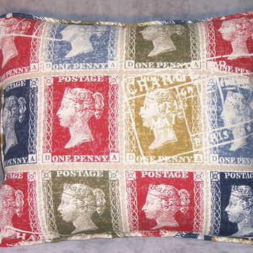 Colorful Postage Stamps Throw Pillow Insert Included Ready Ship Complete Cushion Cotton Rectangle Red Blue Gold Navy Postale Script Mail