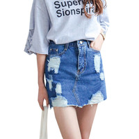 Summer 2016 Women Denim Skirt Jeans Short High Waist Mini Skirt Sexy Ripped Jeans Skirts Ladies Slim Pencil Bodycon Denim Skirts