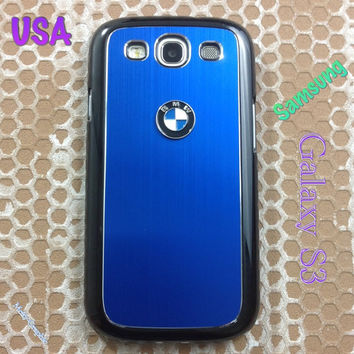 BMW Samsung Galaxy S3 Case BMW 3D Metal Car Logo with Aluminum Cover for S3 / i9300 - F1  Blue