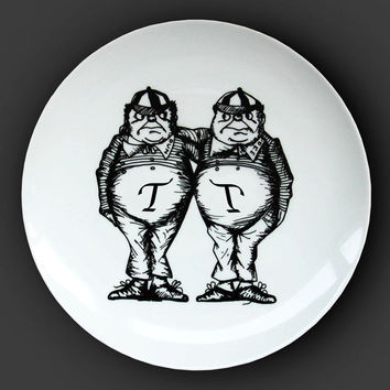 Illustrated ceramic plate, Black and White Pen and Ink Alice in Wonderland drawing - The Tweedles