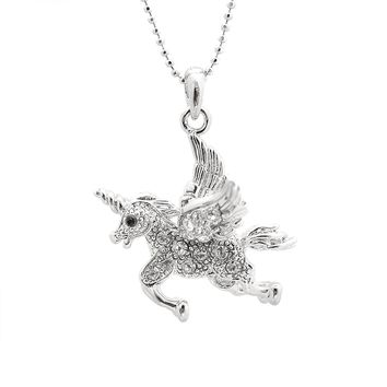 Crystal Running Unicorn Necklace