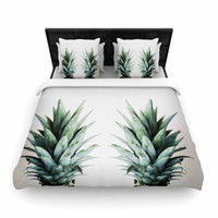 """Chelsea Victoria """"Two Pineapples"""" Green Gold Woven Duvet Cover"""