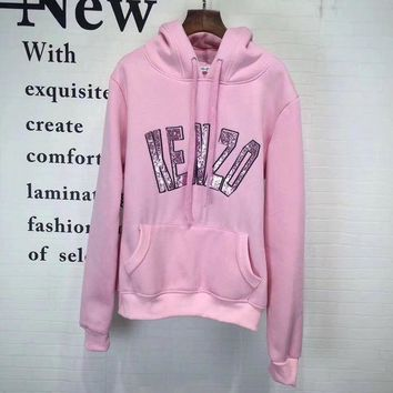 ESBONS Kenzo' Women Casual Fashion Sequin Letter Tiger Head Embroidery Long Sleeve Hooded Sweater Sweatshirt Tops