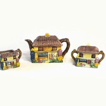 Vintage Cottage Ware Tea Set, Ceramic Teapot, Creamer and Sugar Bowl, Dicken's Village Ye Olde Curiosity Shoppe, Made in Japan