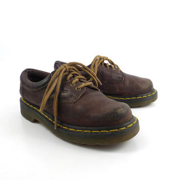 Doc Martens Oxfords 1990 Tan Brown Leather Kids size Distressed Uk size 1