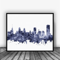 Buffalo Skyline Black Art Print Poster