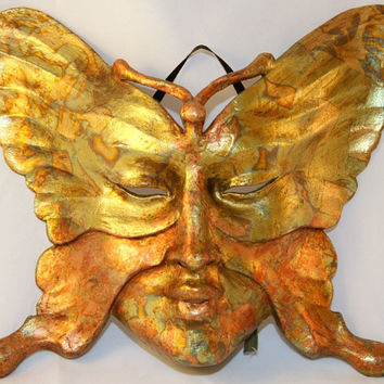 Gold Butterfly Venetian Mask - Venetian Masquerade Mask - Paper Mache Animal Mask
