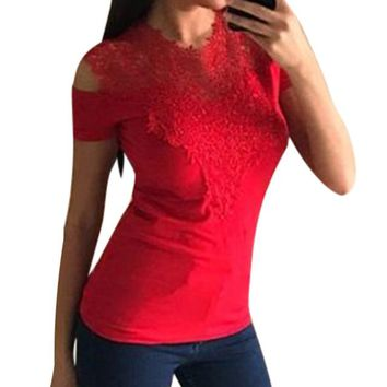 Tops and Tees T-Shirt Women Short Sleeve Lace T-shirt Summer Cold Shoulder Crew Neck Slim  Tee Shirt Casual Lace Patchwork Female T Shirt Tees AT_60_4 AT_60_4