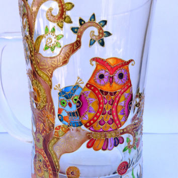 Owl Tree of life Big Mug. Hand painted glass. Hand painted mug. Large mug. Glass mug