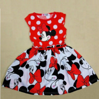 Princess Minnie Mouse Polk-a-dot Red Dress Girls
