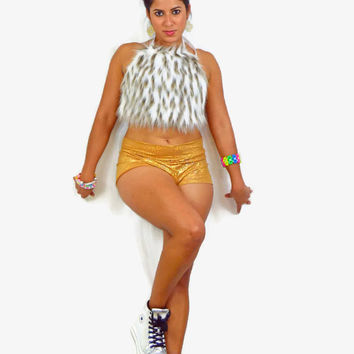 Fur halter top / exotic wear / sexy top / EDC outfit / shorts