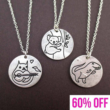 3 Piece Round Coin Engraved Cat Koala and T-Rex Necklace Set in Silver