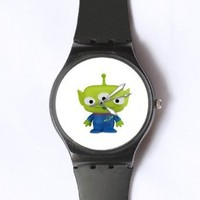 Custom TOY STORY Little Green Man Watches Classic Black Plastic Watch WT-0828