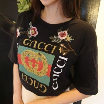 GUCCI Fashion Loose Embroidery Roses Print Shirt Top Tee