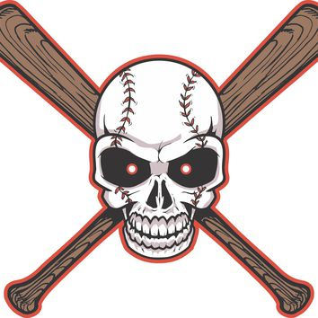 Skull Baseball Bats full color decal stickers