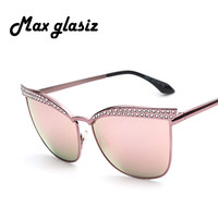 2016 New Pink Retro Alloy CatEye Sunglasses Shades Mirror Men Women Designer Eyewear Female Glasses Oculos Del Sol