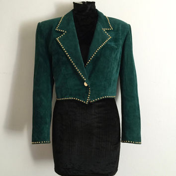 Vintage 1980s 'Pia Rucci' forrest green suede waisted jacket with shaped hem and gold stud detail