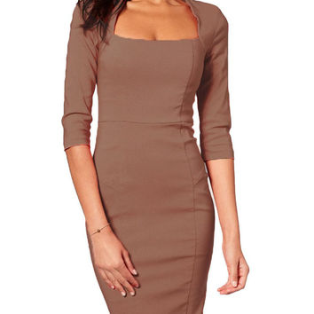 Brown Square Neck Long Sleeve Bodycon Midi Pencil Dress