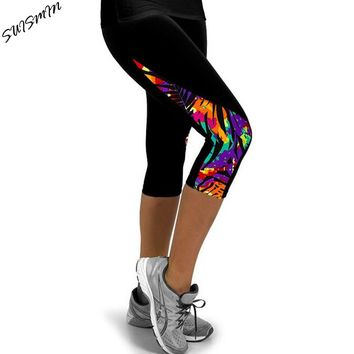 Women Leggings Capris Printed Black Milk Clzas deportivas mujer Capri Summer 7 Leggins