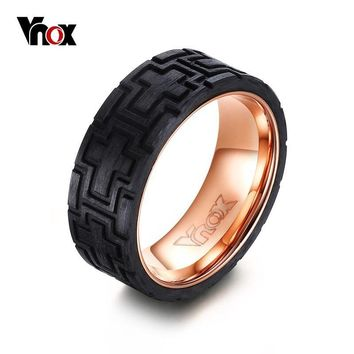 Black Carbon fiber Tire Ring (Stainless Steel Rose Gold-colored center)