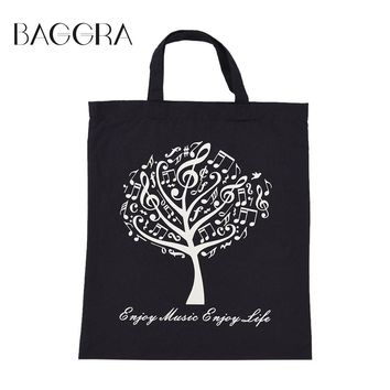 Baggra Eco Reusable Shopping Bags Cloth Fabric Grocery Packing Recyclable Bag Musical Tree Design Healthy Tote Handbag Fashion